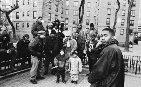 Nas_Queensbridge_Bench_Celebration_1993_Photo_by_Danny_Clinch